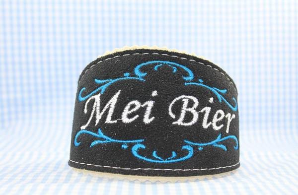 Mei Bier Maßkrug Biertracht blau aus Hirschleder